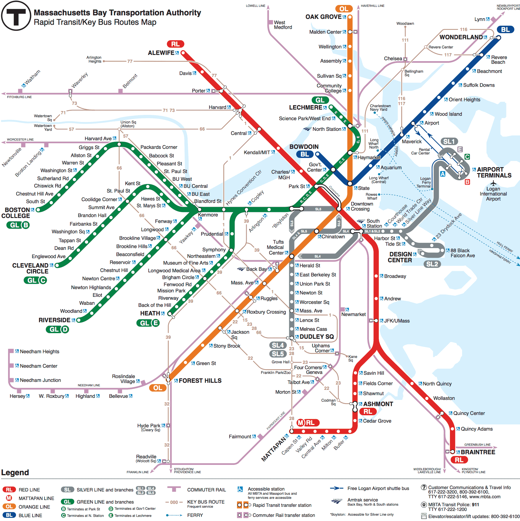 Subway Schedules Maps MBTA Massachusetts Bay - Massachusetts map