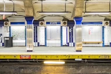Blue Line subway platform inside State Street