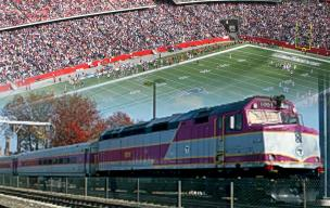 Commuter rail train to Gillette Stadium