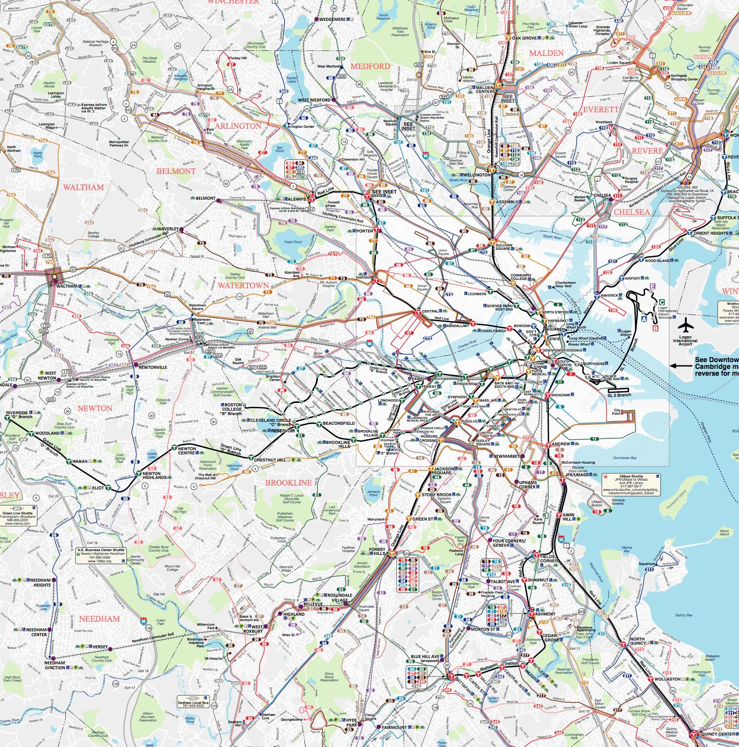Maps Home MBTA Massachusetts Bay Transportation Authority - Large us road wall map